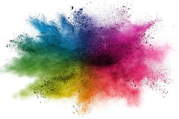 Estores personalizados con tu foto Freeze motion of colorful color powder exploding on white background.  Paint Holi.