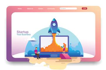 Landing page design concept of Startup Business, Successful startup business concept. Vector illustration concepts for website design ui/ux and mobile website development.