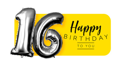 Happy 16th birthday yellow greeting background. 3D Rendering