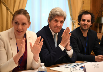 "Former U.S. Secretary of State John Kerry is attends the ""Tech for Good"" Summit, at Hotel Marigny in Paris"