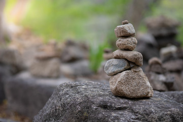 Closeup of balancing rock stack pyramid for mediation and harmony concept. Zen-like image.