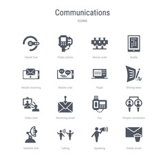 set of 16 vector icons such as delete email, speaking, talking, satellite dish, people connection, fax, receiving email, video chat from communications concept. can be used for web, logo, ui\u002fux
