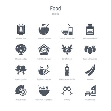set of 16 vector icons such as drive through, drinking, bowl with vegetables, citrus fruits, bananas, plastic water bottle, apple and grapes, cooking mitts from food concept. can be used for web,