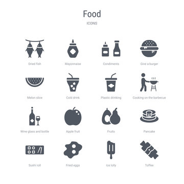 set of 16 vector icons such as toffee, ice lolly, fried eggs, sushi roll, pancake, fruits, apple fruit, wine glass and bottle from food concept. can be used for web, logo, ui\u002fux