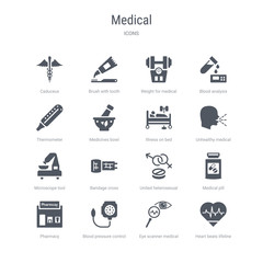 set of 16 vector icons such as heart beats lifeline in a heart, eye scanner medical, blood pressure control tool, pharmacy, medical pill, united heterosexual, bandage cross, microscope tool from