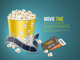 Cinema and movie poster design. 3d realistic popcorn, film tape and tickets on blue background. Vector template for ad, banner, presentation.