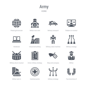 set of 16 vector icons such as two branches of frame, military strategy sketch, cardinal points on winds star, militar tank in city street, militar, map and compass, union military strategy,