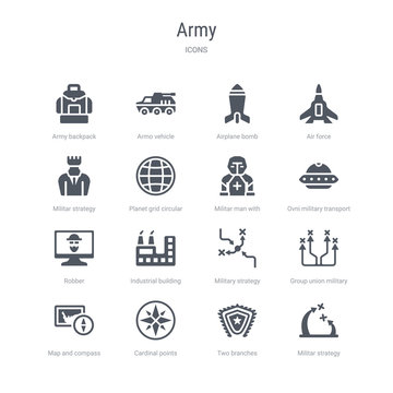 set of 16 vector icons such as militar strategy, two branches, cardinal points on winds star, map and compass orientation tools, group union military strategy, military strategy graphic, industrial