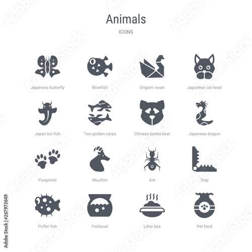 set of 16 vector icons such as pet food, litter box