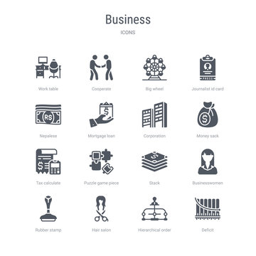 set of 16 vector icons such as deficit, hierarchical order, hair salon, rubber stamp, businesswomen, stack, puzzle game piece, tax calculate from business concept. can be used for web, logo,
