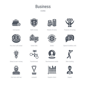 set of 16 vector icons such as expert, graphic chart, lanyard, fat man with hat and moustache, man looking, businessman inside a ball, punishment, ideas to earn money from business concept. can be