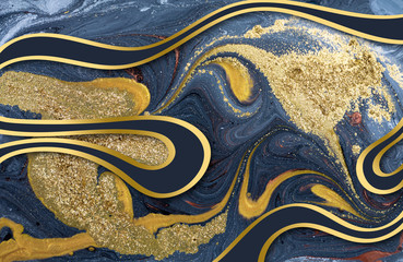 Marble abstract acrylic background. Nature marbling blue and gold artwork texture.
