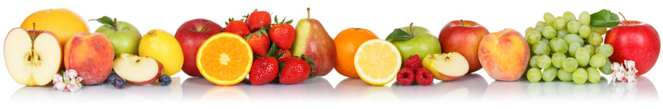 Fruits collection apple apples orange berries grapes banner fresh fruit isolated on white in a row