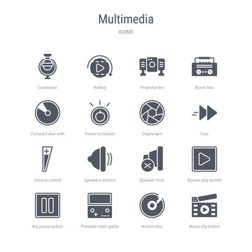 set of 16 vector icons such as movie clip button, broken disc, portable video game console, big pause button, square play button, speaker mute, speakers volume, volume control from multimedia