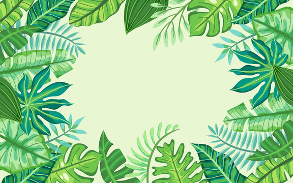 Tropical frame design with exotic plants. Green background with place for text. Template for greeting cards, banners, posters...