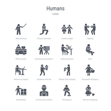 set of 16 vector icons such as woman sweeping, proud pose, construction worker, storekeeper, housewife shopping, worker with notepad, gardener with hat, internet on laptop computer from humans