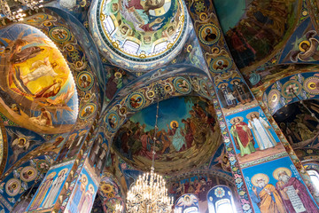 Interior of the St Isaac Cathedral in Russia.