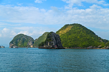 Scenic panoramic view Halong bay islands. Rock islands South China Sea Vietnam. Site Asia