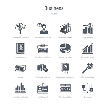 set of 16 vector icons such as rearrange, american dollar bill, identity card, line chart statistics, money searcher, statistics presentation, briefcase settings, money from business concept. can be