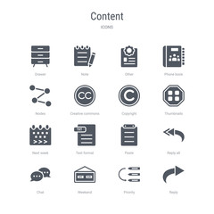 set of 16 vector icons such as reply, priority, weekend, сhat, reply all, paste, text format, next week from content concept. can be used for web, logo, ui\u002fux