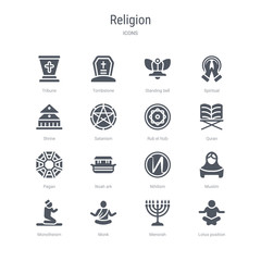 set of 16 vector icons such as lotus position, menorah, monk, monotheism, muslim, nihilism, noah ark, pagan from religion concept. can be used for web, logo, ui\u002fux