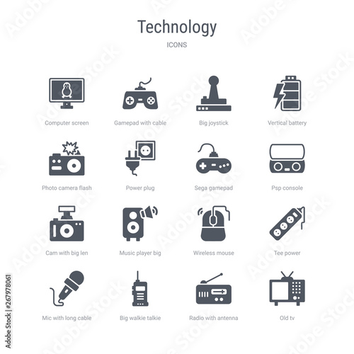 set of 16 vector icons such as old tv, radio with antenna, big