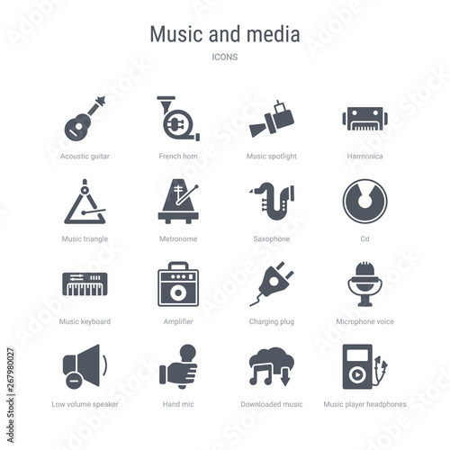 set of 16 vector icons such as music player headphones
