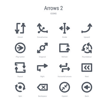 set of 16 vector icons such as back, expand, backspace, spin, next, horizontal arrows, right, repeat from arrows 2 concept. can be used for web, logo, ui\u002fux