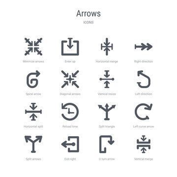 set of 16 vector icons such as vertical merge, u turn arrow, exit right, split arrows, left curve arrow, split triangle, reload time, horizontal split from arrows concept. can be used for web, logo,