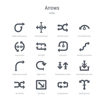 set of 16 vector icons such as splitting arrow, looping arrow, exit down, no shuffle, download arrow with line, up and down arrows, right curve, right curved from arrows concept. can be used for