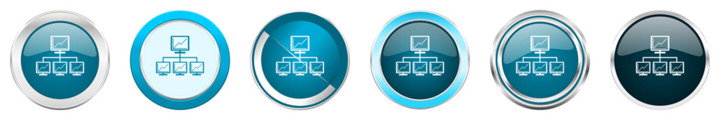 Network silver metallic chrome border icons in 6 options, set of web blue round buttons isolated on white background