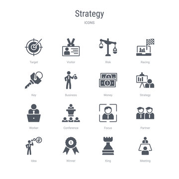 set of 16 vector icons such as meeting, king, winner, idea, partner, focus, conference, worker from strategy concept. can be used for web, logo, ui\u002fux