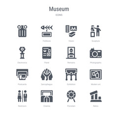 set of 16 vector icons such as relics, porcelain, cinema, restroom, modern art, exhibition, sarcophagus, postcards from museum concept. can be used for web, logo, ui\u002fux
