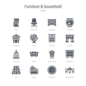set of 16 vector icons such as dinner table, wall clock, pillows, floor, night stand, cuckoo clock, couch, bird cage from furniture & household concept. can be used for web, logo, ui\u002fux