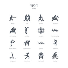 set of 16 vector icons such as cycling, dart board, discus throw, diving sport, dodgeball, drifting, equestrianism, figure skating from sport concept. can be used for web, logo, ui\u002fux