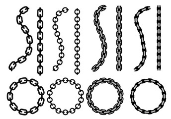 Cartoon metal different chain borders and frames. Isolated on white background. Vector icon set.