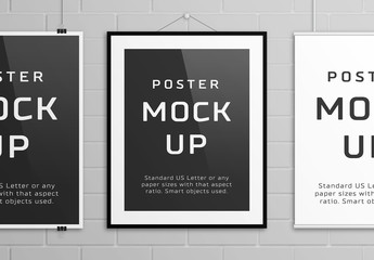 3 Hanging Posters Mockup