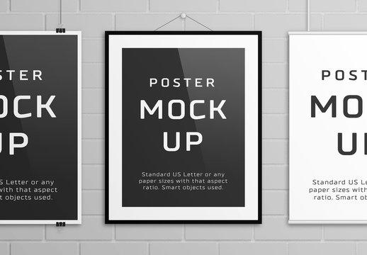3 Hanging Posters Mockup
