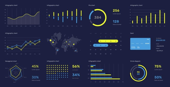 Elements of infographics on a dark background. Use in presentation templates, flyer and leaflet, corporate report. Dashboard template with big data visualization.