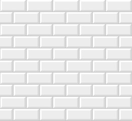 White tile subway, background, seamless pattern. Vector