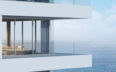Perspective of high-rise condominium building with sea view background - 3D rendering - Illustration
