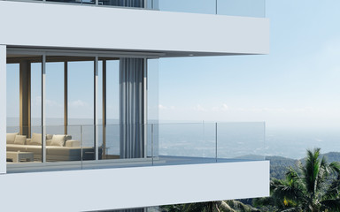 Perspective of high-rise condominium building with mountain and city view background - 3D rendering - Illustration Fototapete