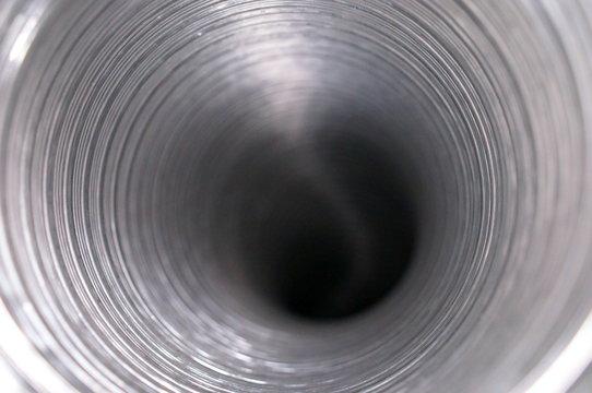 aluminum duct silver Peek inside