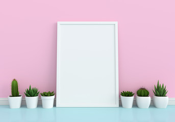 Cactus and blank photo frame for mockup, 3D rendering