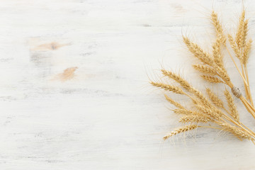 top view of wheat crops over white wooden background. Symbols of jewish holiday - Shavuot Wall mural