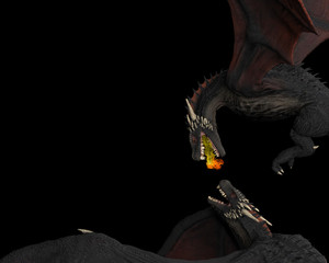 Poster Volcano Two dargons in air close combat woth flames and fire black background isolated 3d illustration