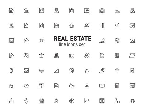 Real estate agent, apartments, houses and plots. Minimalism logos and symbols. Line icons set.