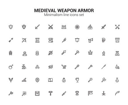 Medieval Weapon Armor Middle Ages Line Icons set. Minimalism symbols.
