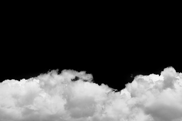 Isolated white clouds over black background realistic cloud
