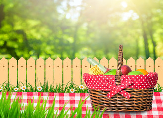 picnic table covered with checkered tablecloth and picnic basket